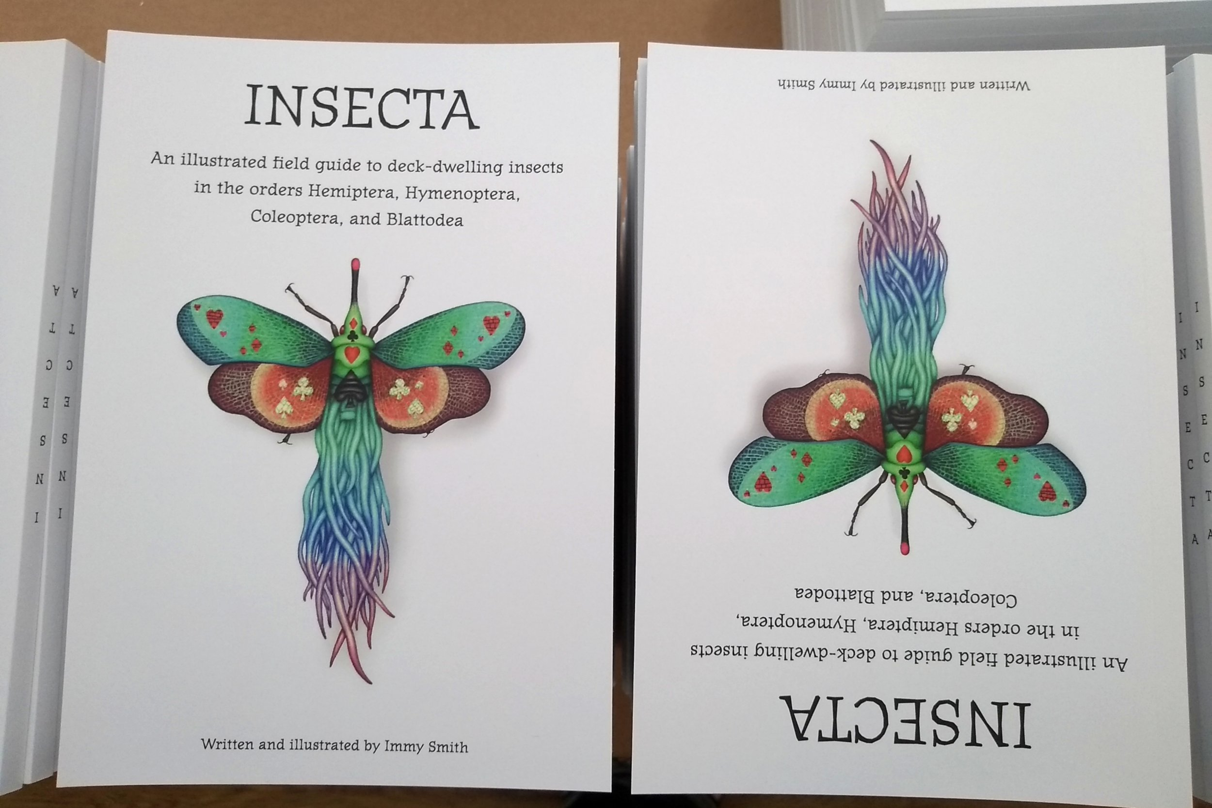 Image description; The cover of my new artbook, called Insecta, which has a very colourful bug on it