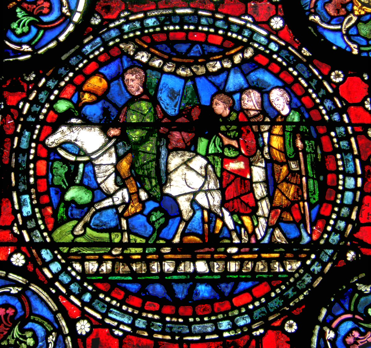 - Stained glass panel from Canterbury Cathedral depicting pilgrims en route