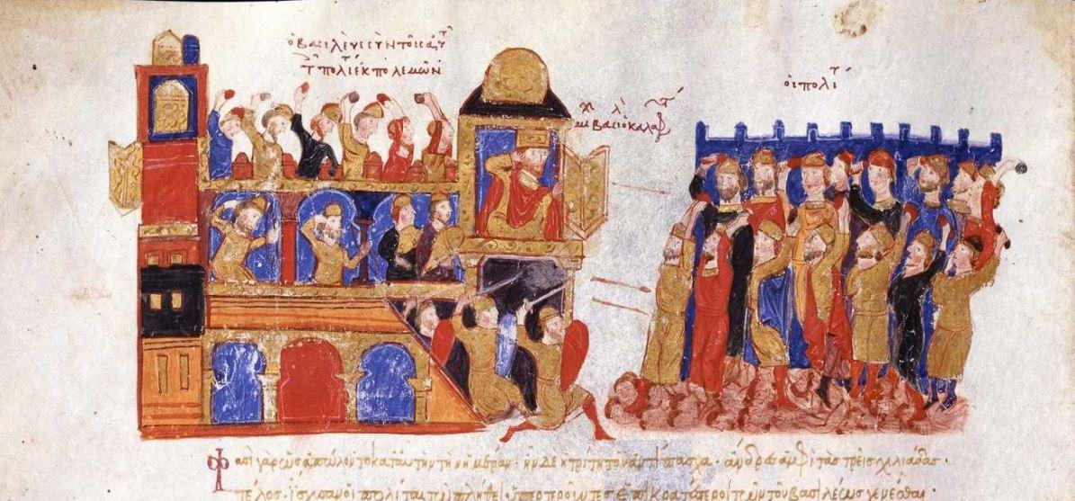Miniature from the so-called Skylitzes Matritensis (12th century). This image depicts people attacking the imperial palace during the uprising against Michael V in 1042.  (Source: https://dl.wdl.org/10625/service/10625.pdf).