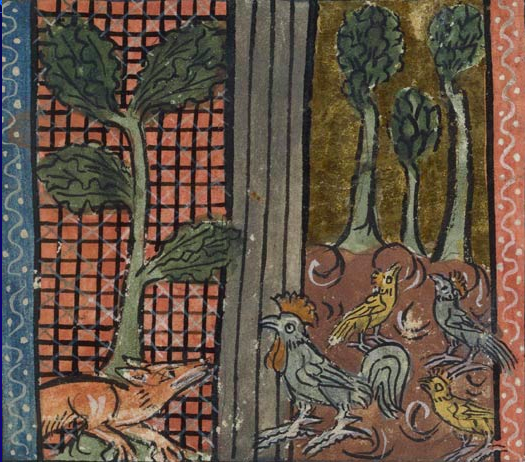 Reynard hunting in the chicken coop for food. BnF, Manuscrits, Français 1580 fol. 20.