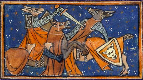 Reynard the Fox battles Isengrin the Wolf. Jacquemart Gielée: ''Renart le nouvel'' Handschrift, um 1290/1300 BNF, Paris, Ms fr. 1581f. 6v.