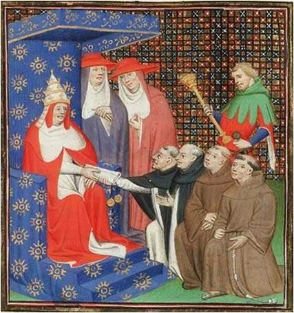 Pope Innocent IV sends Dominicans and Franciscans out to the Tartars, and Mongols. From: Vincent of Beauvais, Le Miroir Historial (Vol. IV), Paris, Master of the Cité des Dames (illuminator); c. 1400-1410. ©KoninklijkeBibliotheek