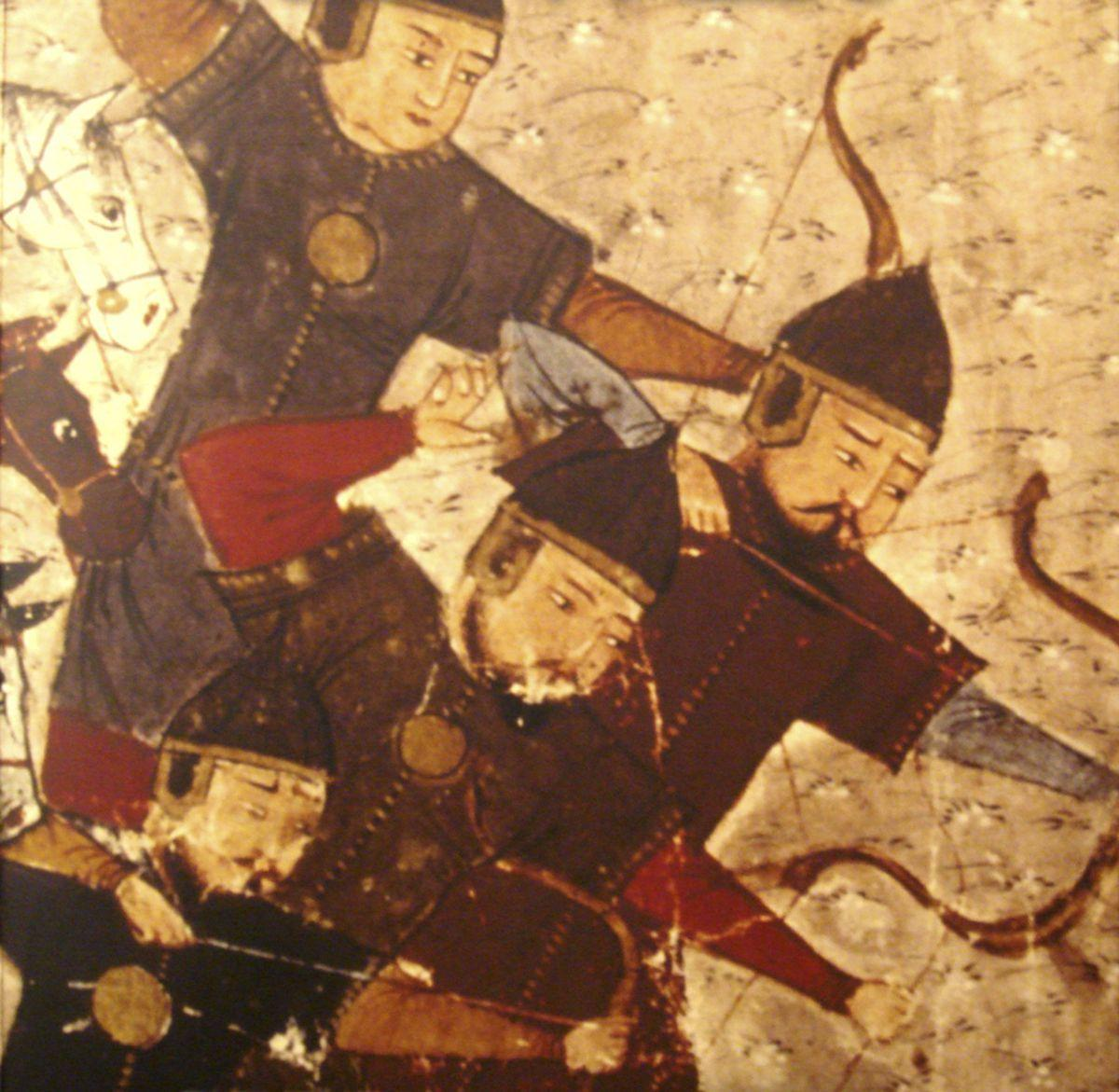"Mongol archers featured in the Compendium of Chronicles of Rashiduldin Hamadani (1305). From: ""The History of the World"" by Rashid al-Din. Photograph by AKG-Images, published in ""The Mongols and the West"", Peter Jackson, 2005.  ©WikimediaCommons"