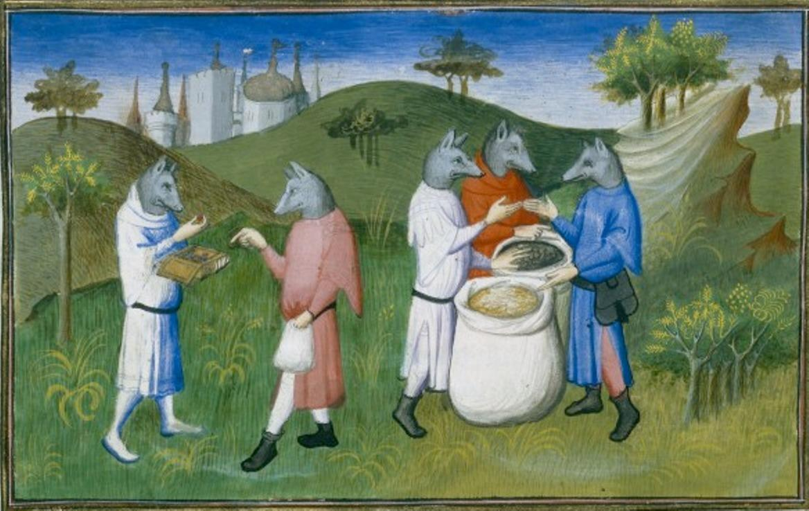 Ms Fr 2810 f.76v, Wolf-headed people of the Andaman Islands in the Indian Ocean, from 'Le Livre des Merveilles', c.1410-12 (tempera on vellum). By The Boucicaut Master and workshop (1390-1430), Paris, France. ©BibliothequeNationale