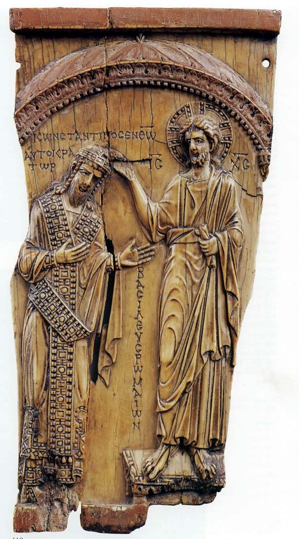 Constantine VII. : This piece of carved ivory from the Pushkin Museum shows Christ blessing Emperor Constantine VII, c. AD 945. The piece passed from the treasury at Etchmiadzin to the collection of Count Sergey Uvarov in the mid-19th century. ©Ghirlandajo, via Wikipedia.