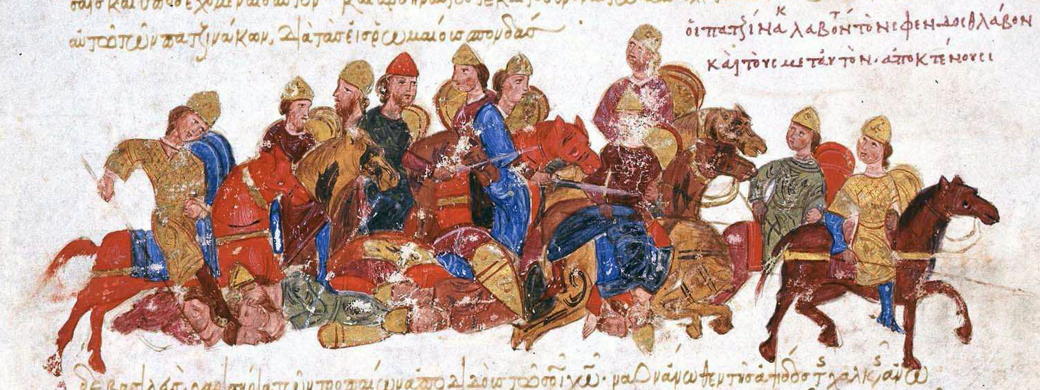 """The Pechenegs. This image from the chronicle of the 11th c. Greek historian, John Skylitze depicts the Pecheneg's slaughter the """"skyths"""" of Sviatoslav I of Kiev. From the Skyllitzes Matritensis, fol. 173r. ©MadridSkylitzes, via Wikimedia Commons."""