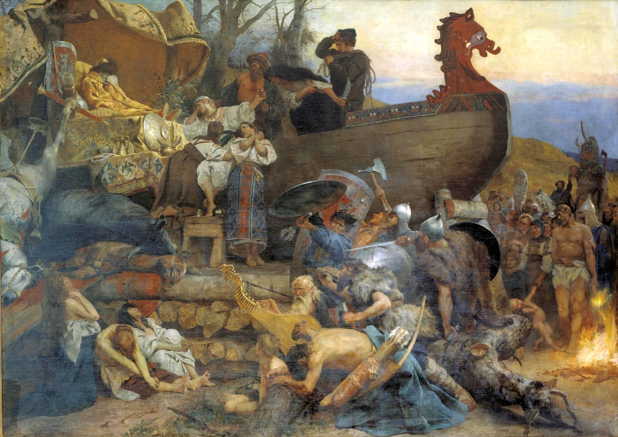 Ship burial of a Rus chieftain. This serene was described by the Arab traveler Ahmad ibn Fadlan who visited Kievan Rus in the 10th century, painted by Henryk Siemiradzki (1883). WikimediaCommons