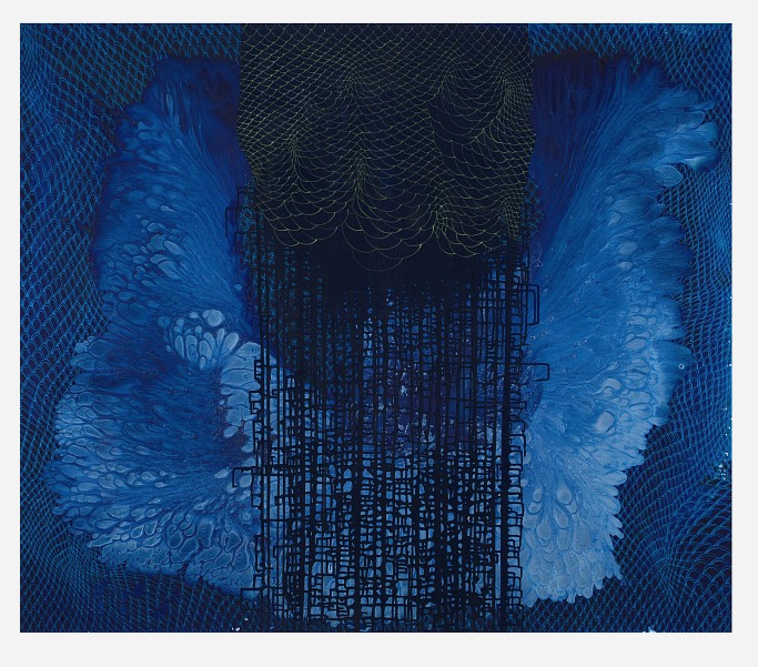 Barbara Takenaga,  Blue (A) , acrylic on linen, 60 x 70 inches