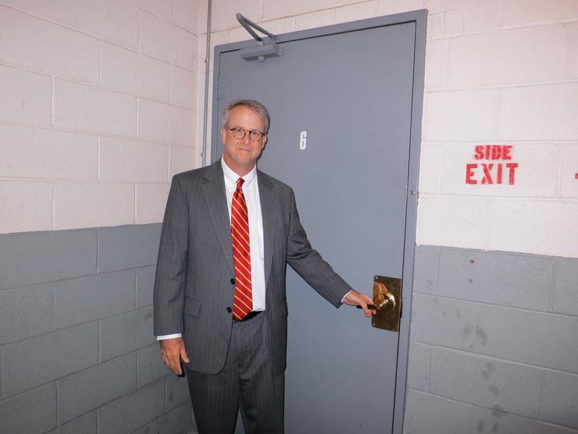 The author at the Watergate in June 2012 at an event sponsored by The Washington Post. This is the famous 6th floor doorway through which the burglars infiltrated the Democratic National Headquarters. www.january1973.com