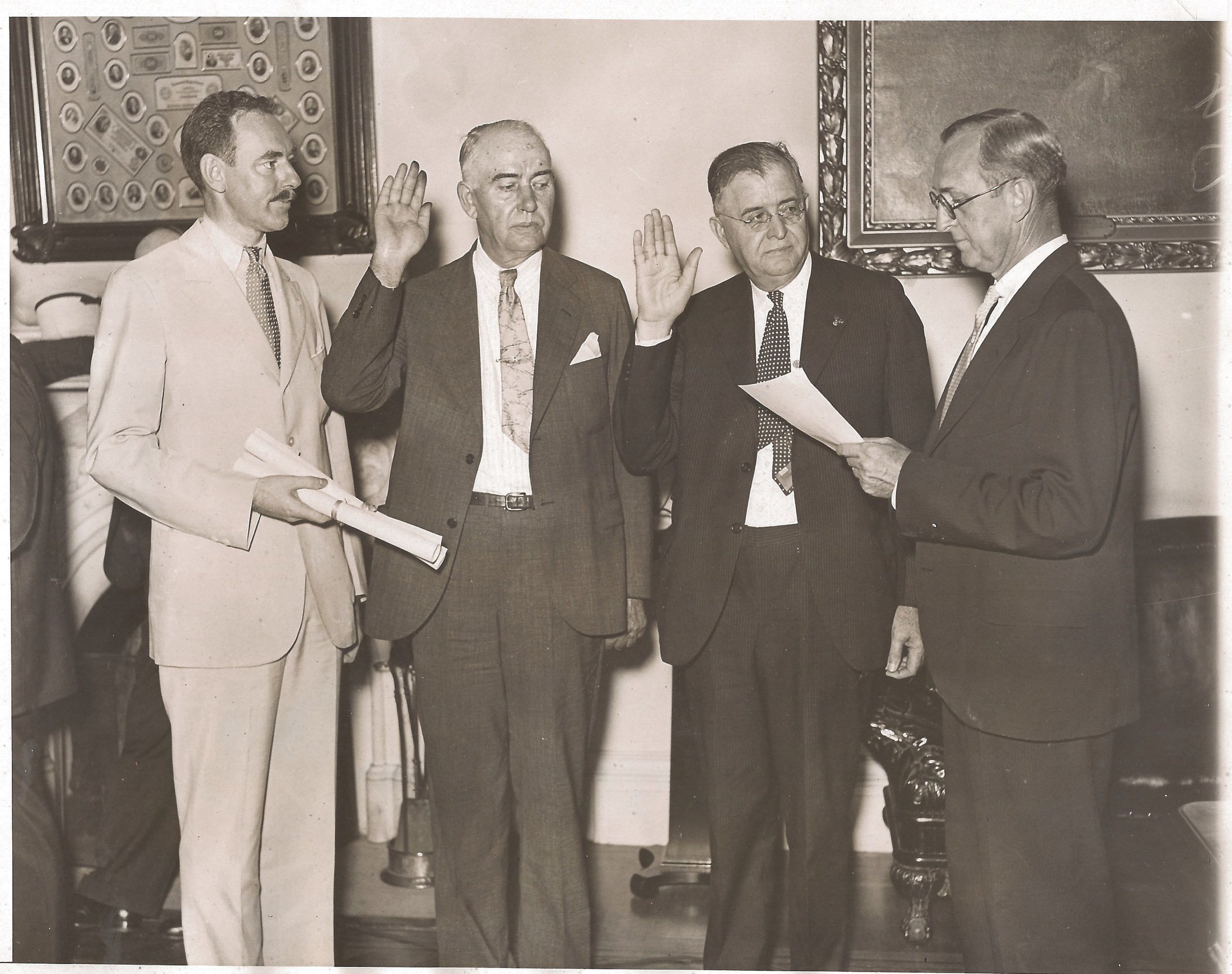 I wrote my first book in 2004 about my great-grandfather, William W. Durbin, pictured here in 1933 being sworn-in as Register of the United States Treasury. Future Secretary of State Dean Acheson, stands to the far left as witness to the ceremony.