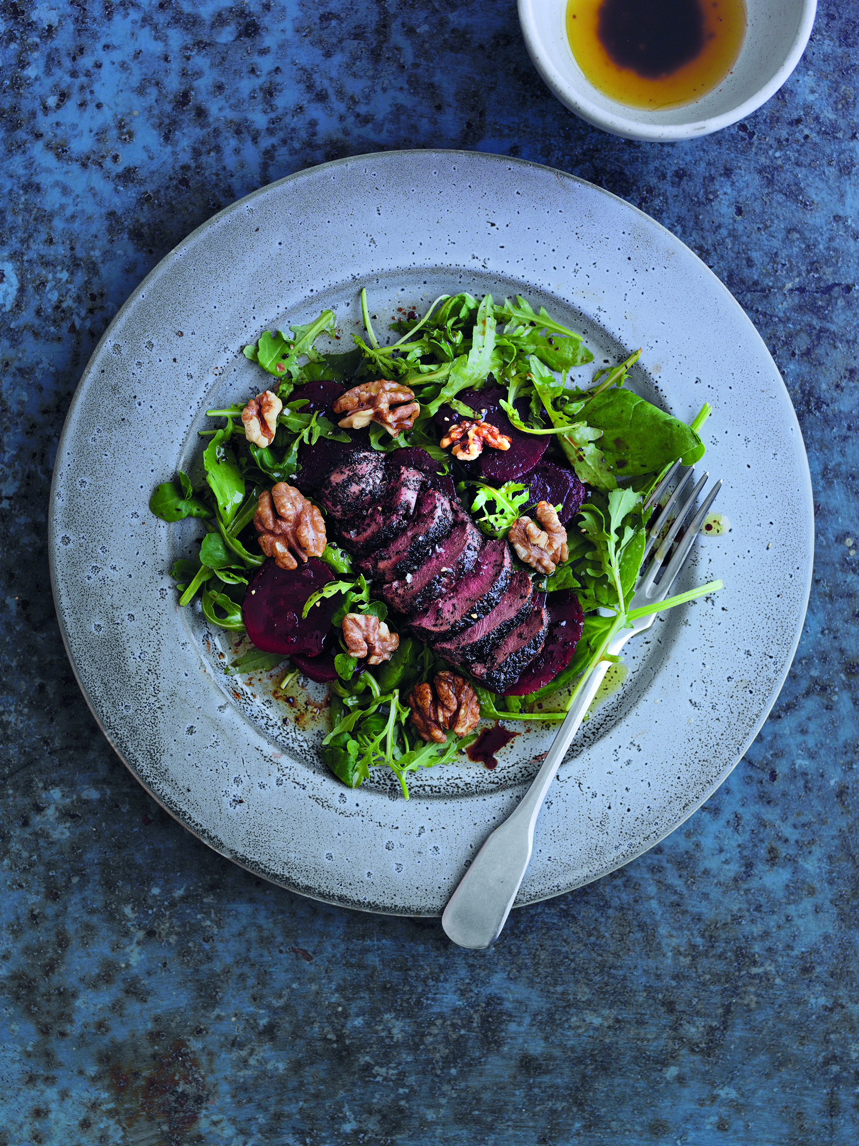 Smoky pigeon breast salad with pickled beetroot - by Nigel Barden from Jose Souto's 'Feathers – The Game Larder' (Merlin Unwin Books)photography Steve Lee