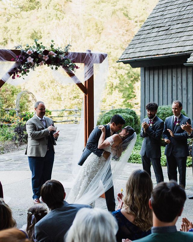 """You may kiss the bride"" No better feeling than hearing those words and walking back down the aisle together knowing that all the wedding planning, stress, jitters and craziness all came together. Plus, that means it's time to head to the greatest celebration of your life with all of your people🙌🏽"