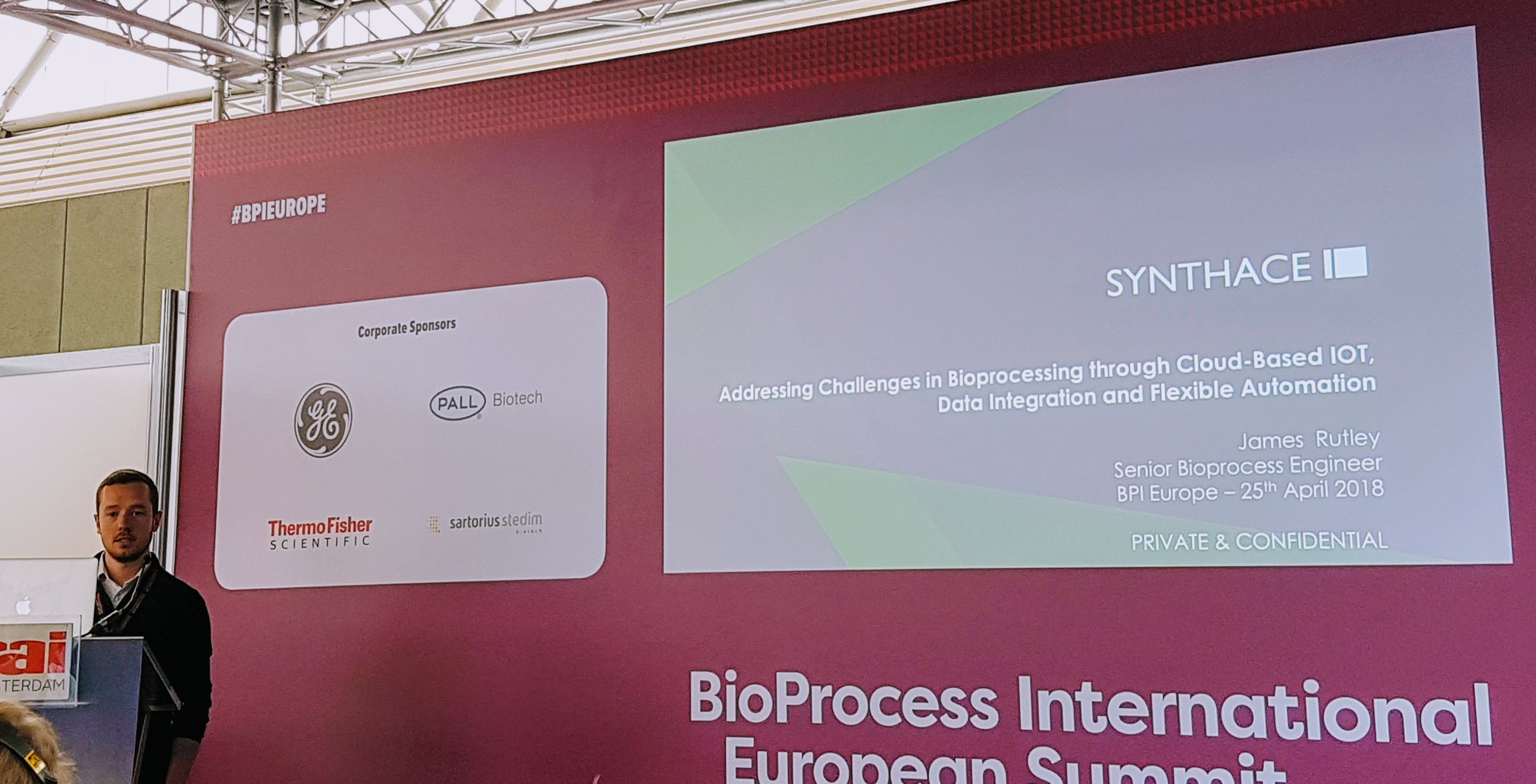 Figure 1. James Rutley, Senior Bioprocess Engineer at Synthace talking about leveraging the cloud in bioprocess development.