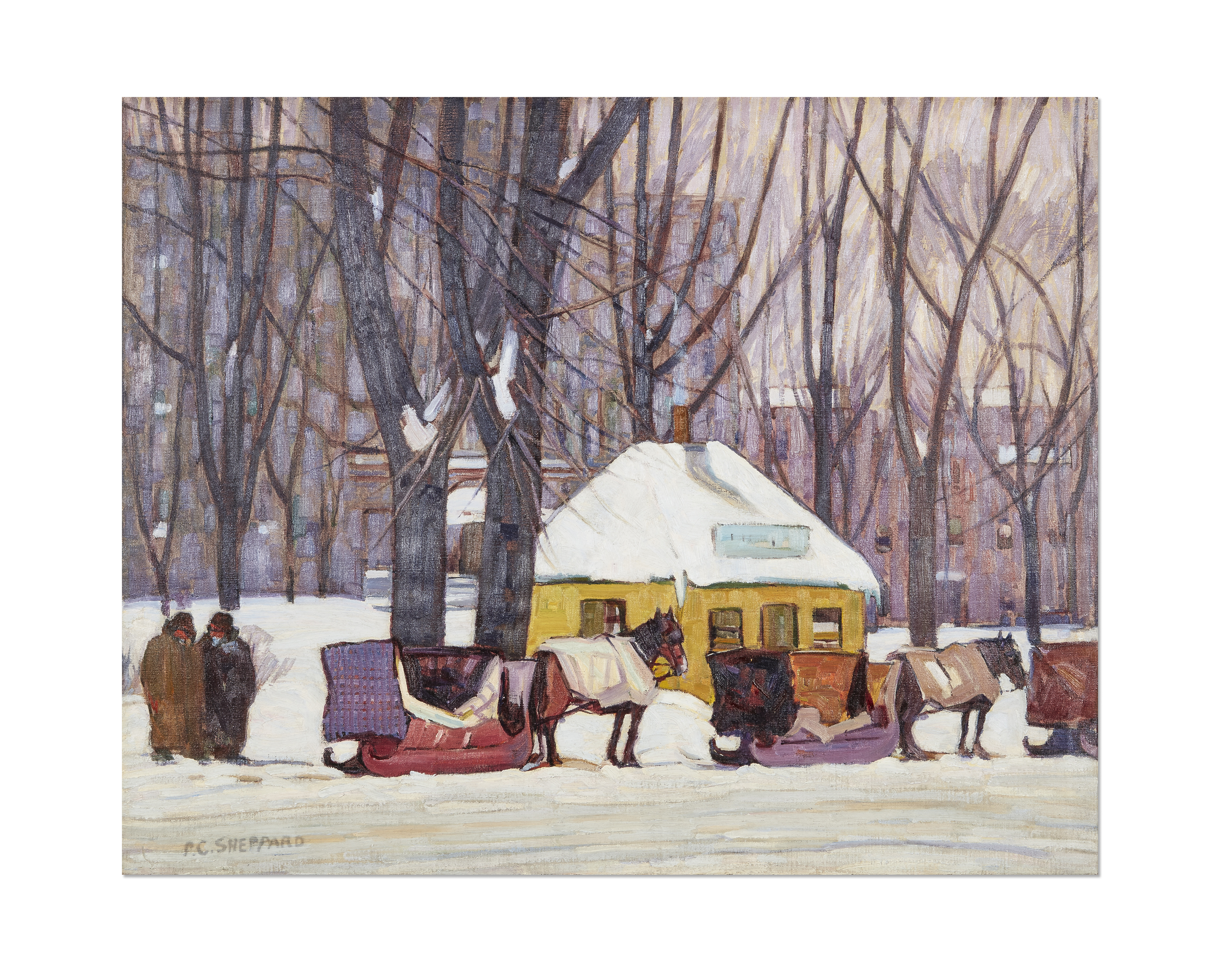 Cabstand, Montreal oil on canvas 1927 signed and on verso stamped with the estate stamp  24 x 30 in 61 x 76.2cm