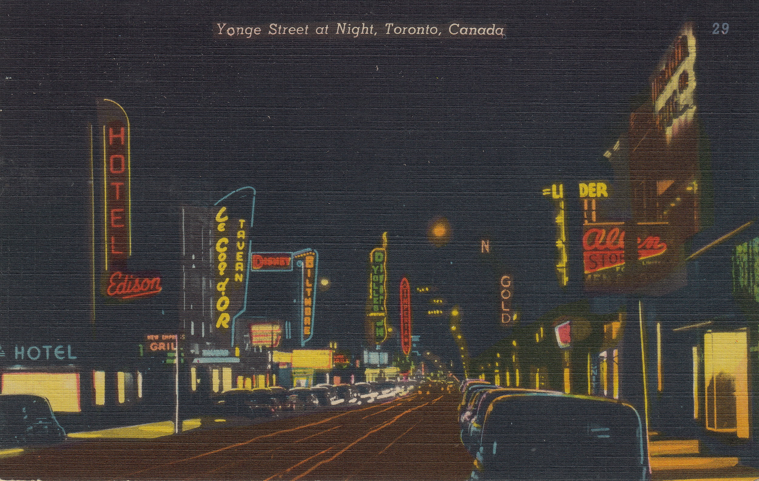 "A postcard depicting Yonge Street's unique neon history (see Downtown Yonge BIA's  2018 Stream 2  submission, ""Neon Sign Museum"")."
