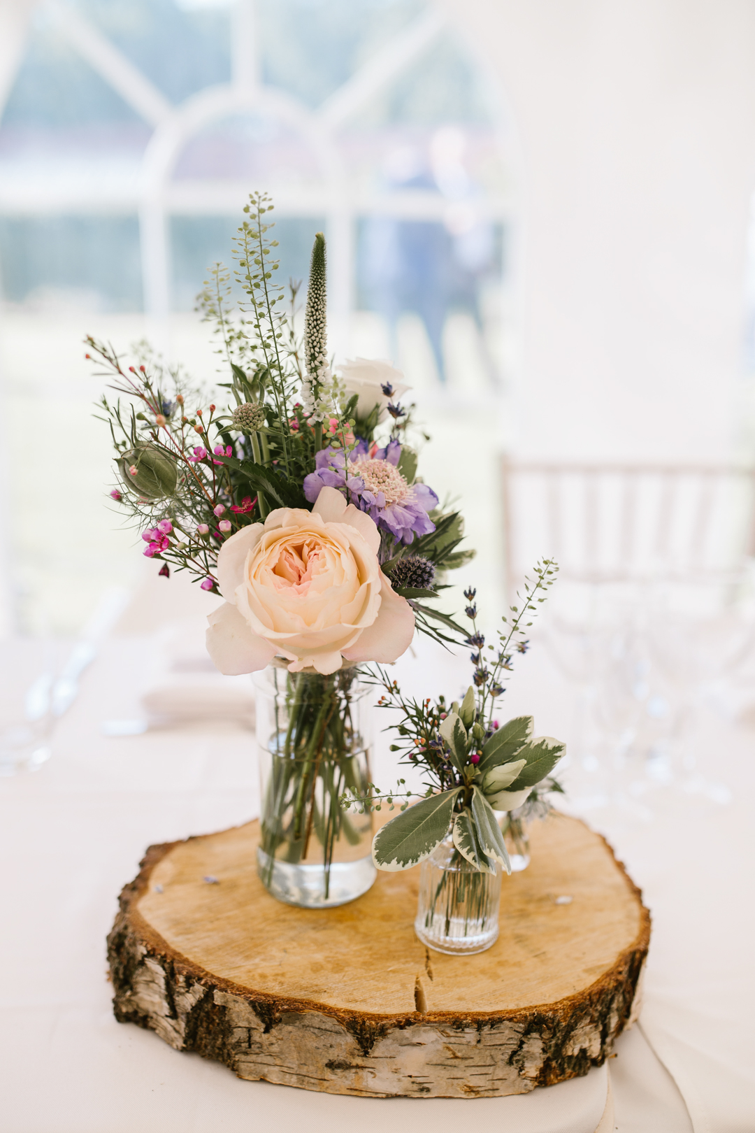 wedding details of centre pieces of wild flowers at nottingham wedding at the walled garden