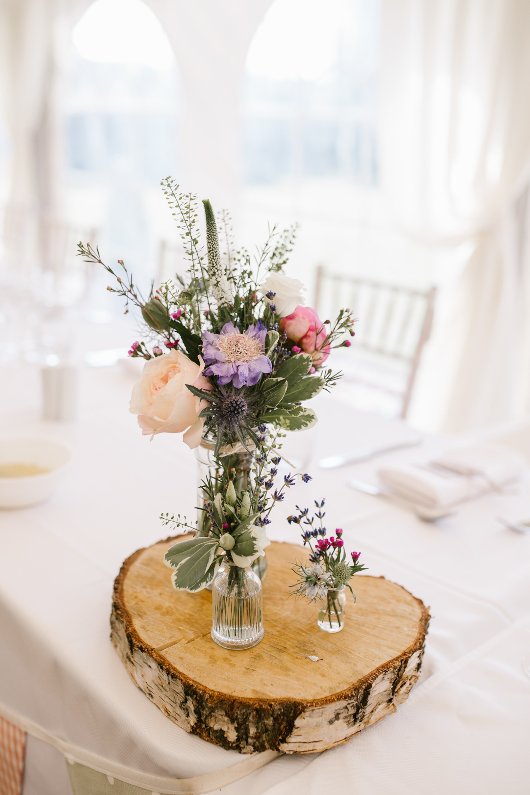 wild flowers used as centre piece in the marquee at the walled garden in beeston fields