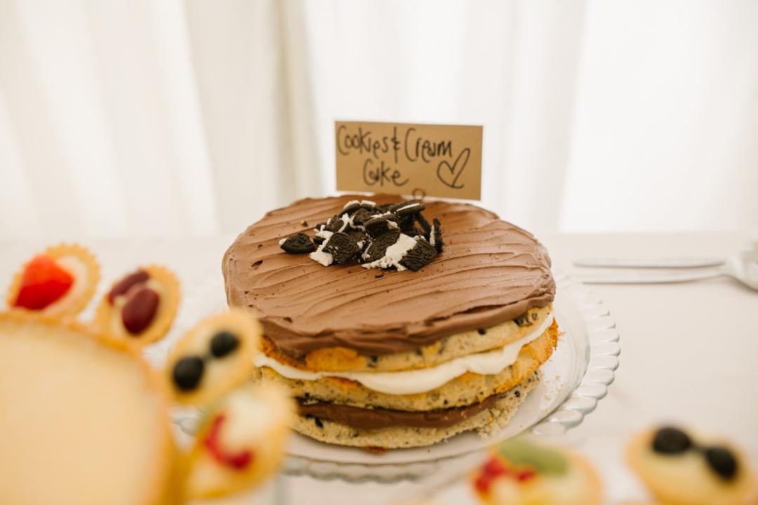homemade chocolate cake on the dessert table at  nottingham wedding