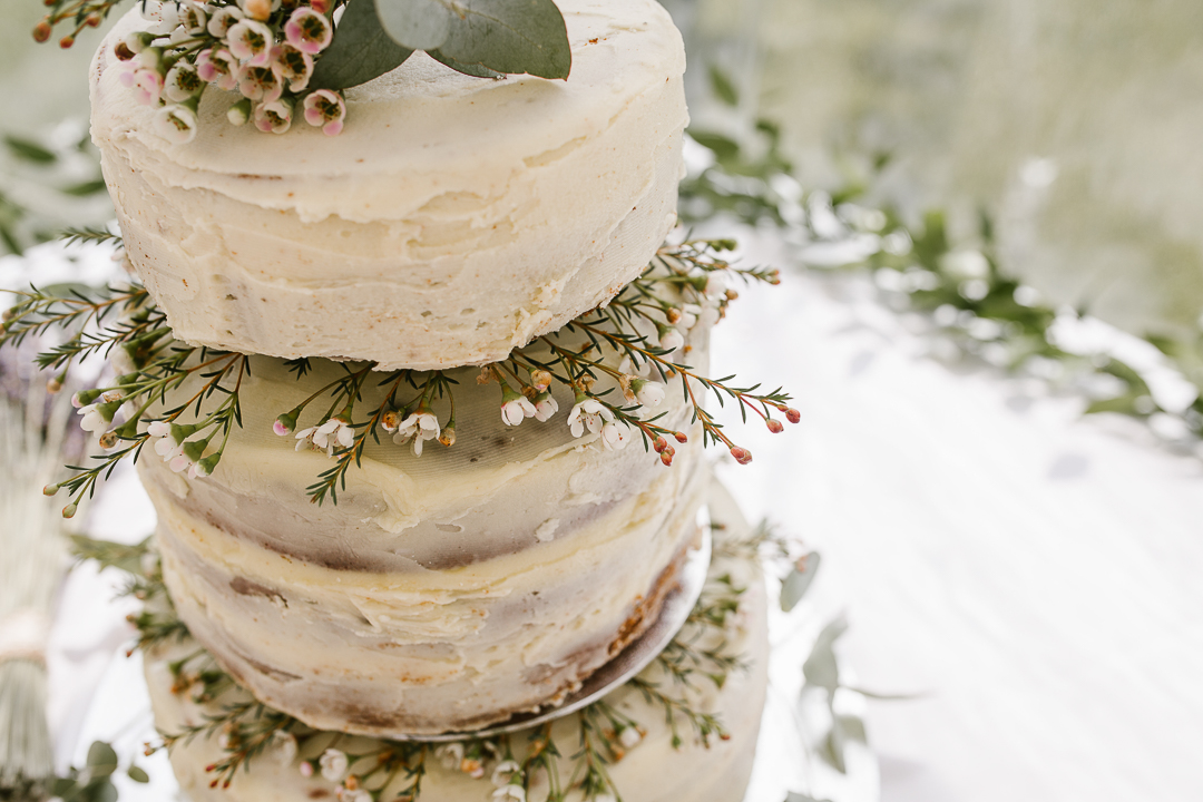 homemade naked cake at cotswolds wedding