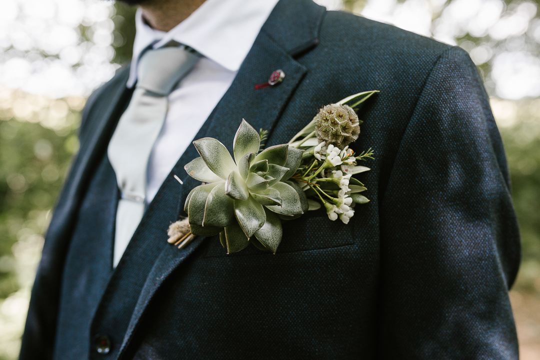 close up shot of wild flower buttonholes