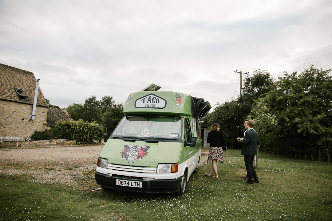 taco truck at a festival themed cotswolds wedding