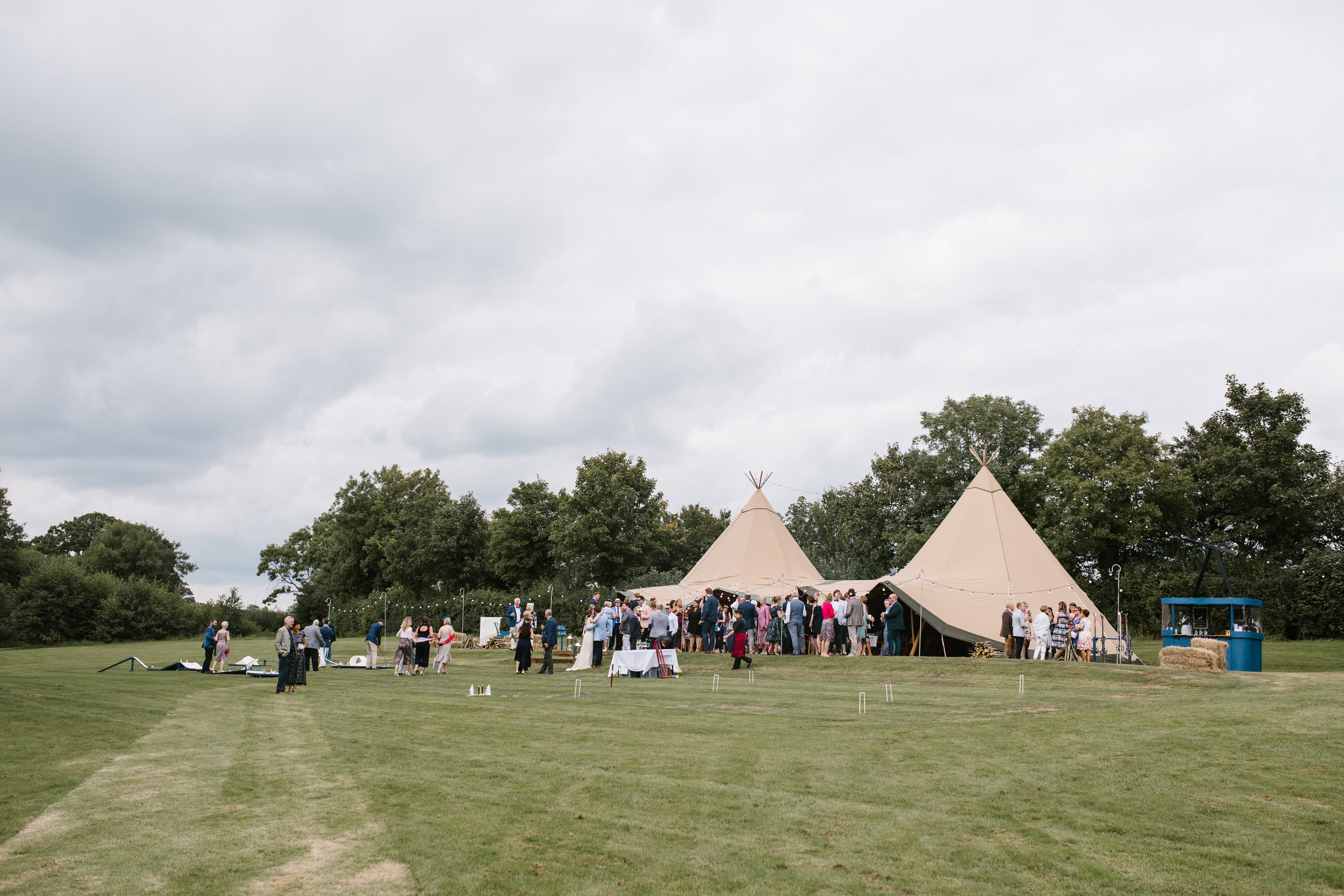 back garden wedding in Somerset of a tipi boho themed wedding