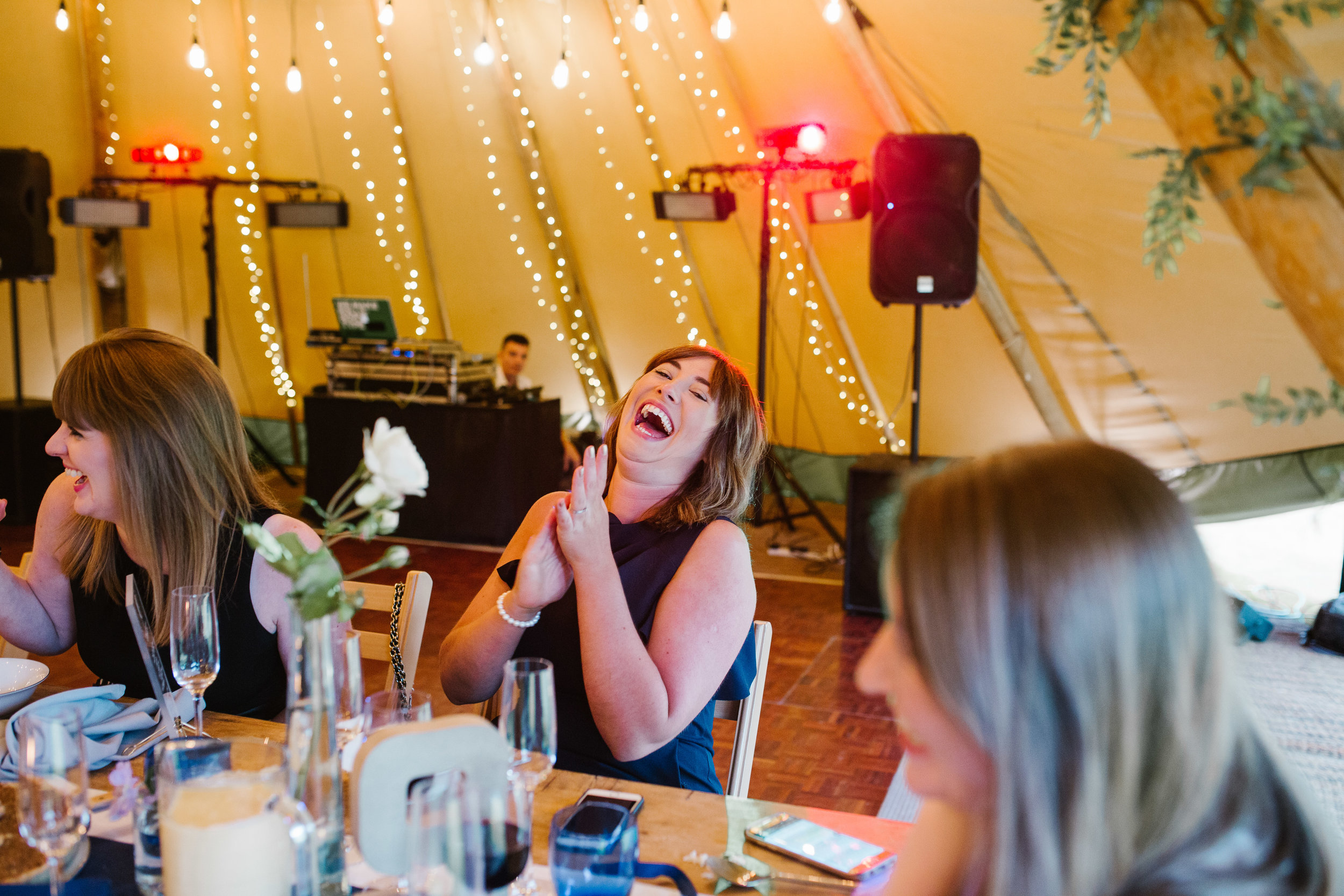 wedding guest laughing out loud