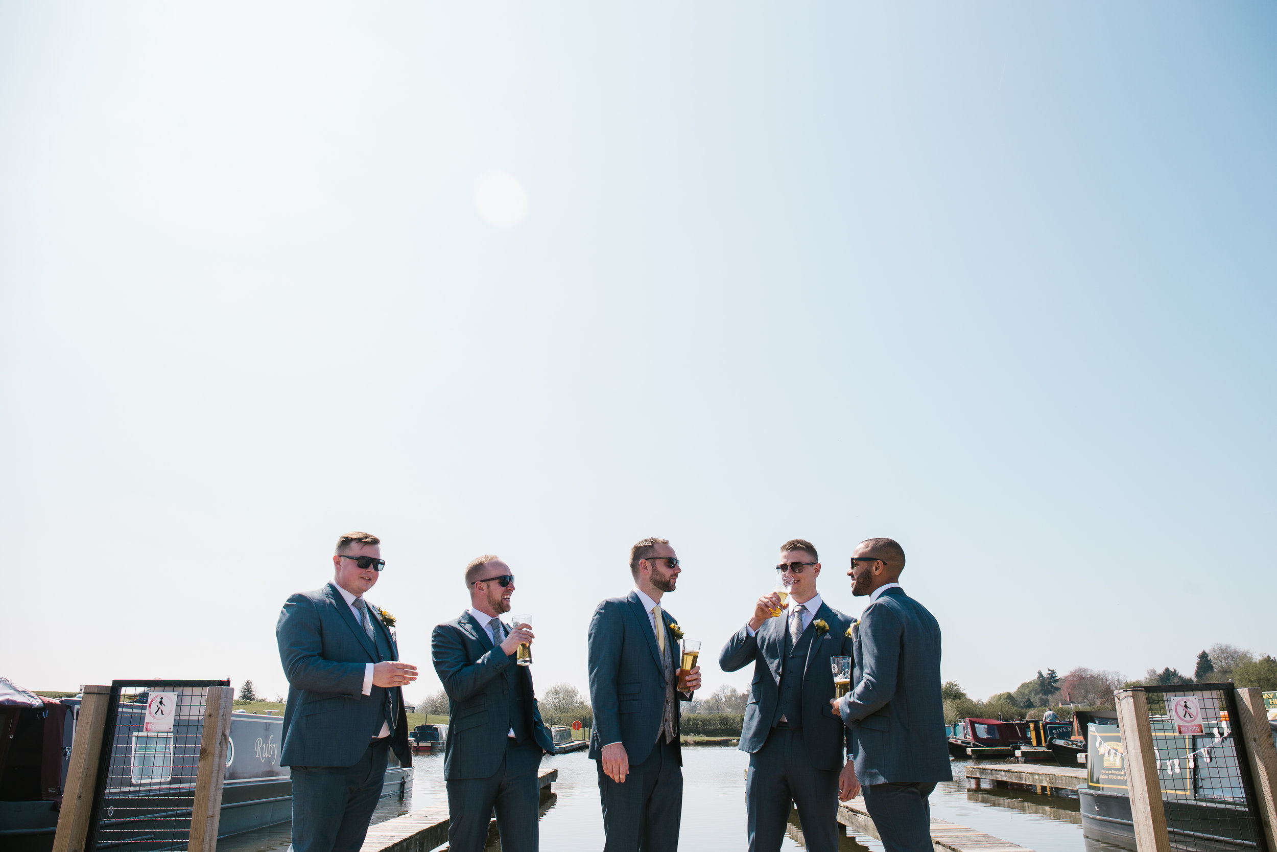 groom with his groomsmen before the wedding at the boat house in aston marina staffordshire