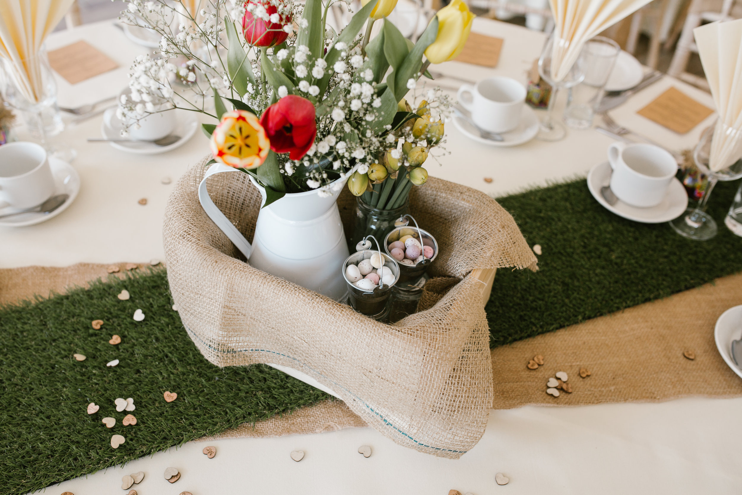 detail shot of the spring themed table dressing