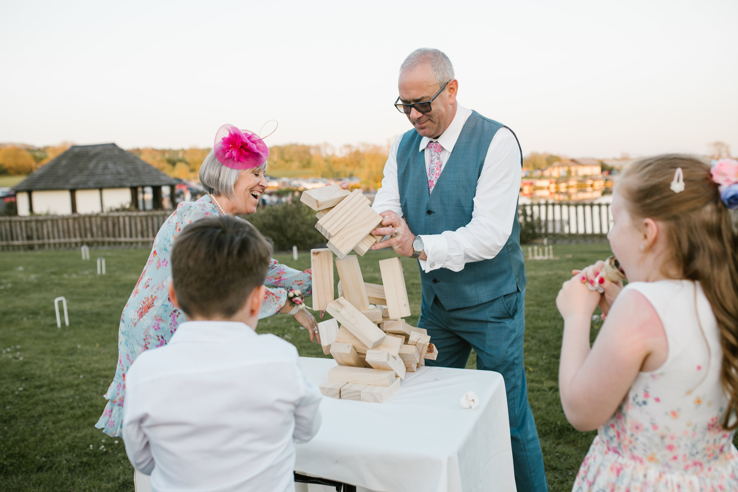 people play lawn games on the wedding evening
