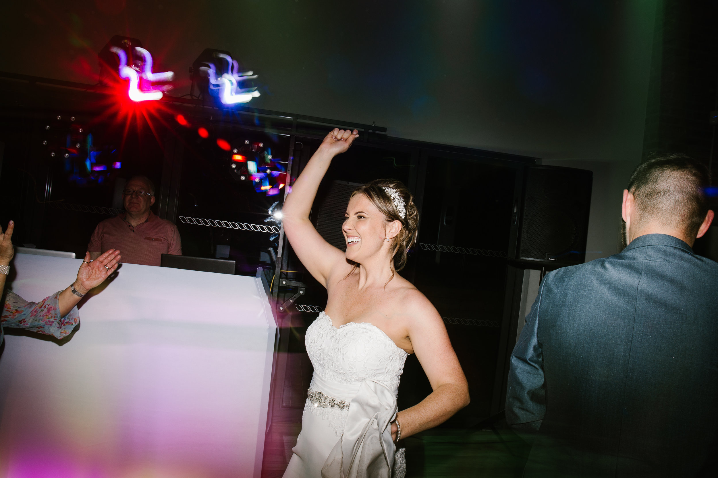 bride dancing to steps on the party of her wedding night
