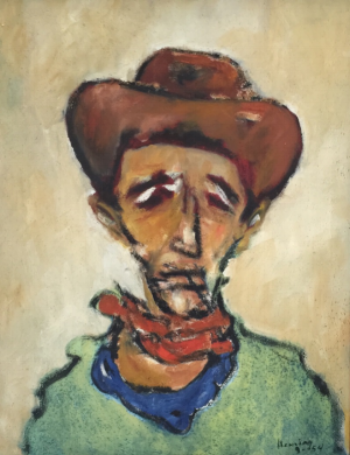Mark Heming,  The Cowboy , 1954 Oil on canvas                             29 x 23 1/2 inches