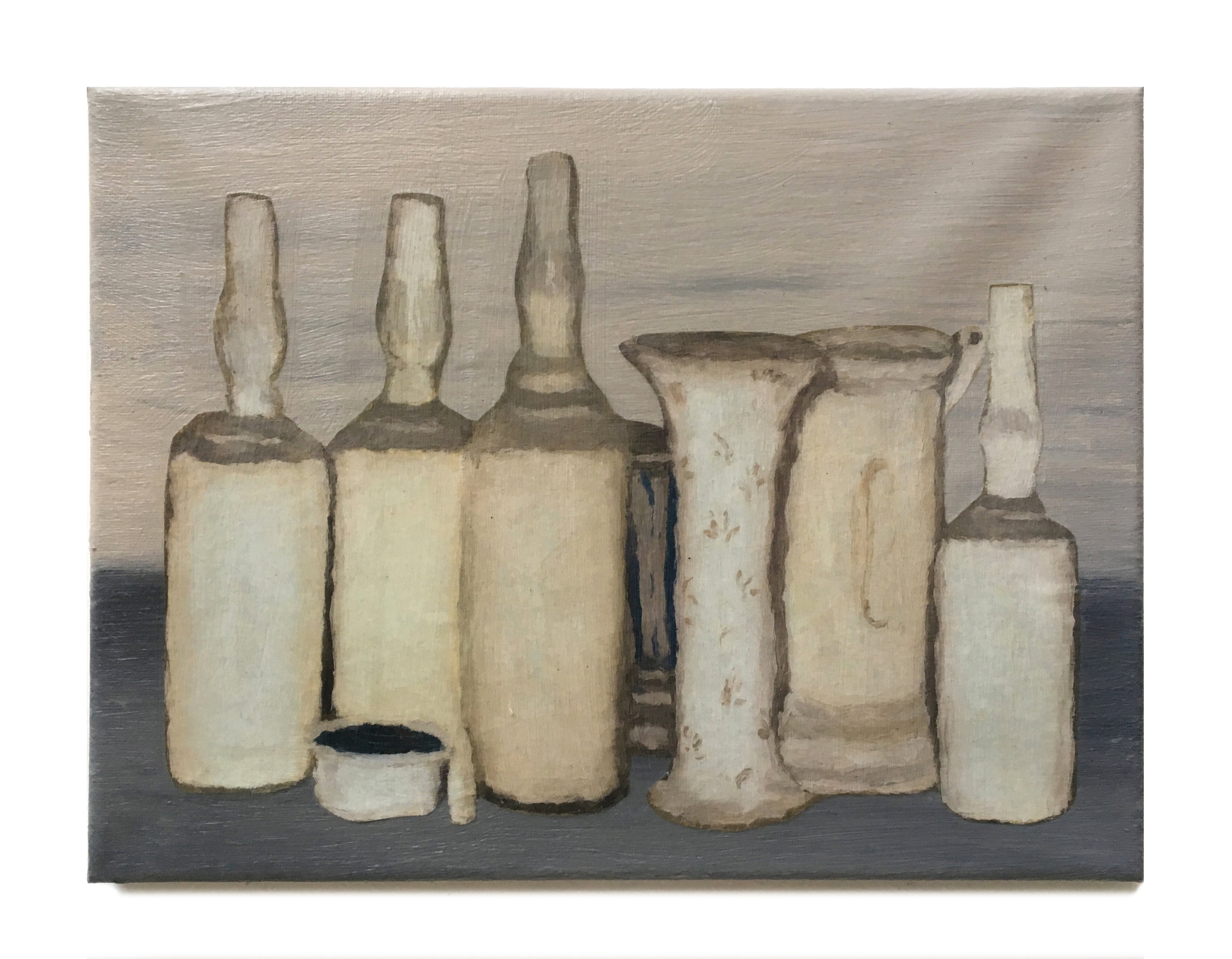 Giorgio Morandi, 2019,  Acrylic and collage on canvas,  9 x 12 inches,  22.9 x 30.5 cm