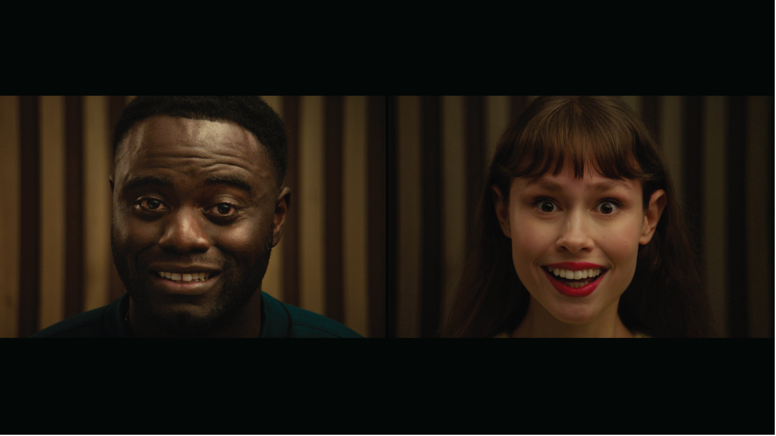 (Above) still image from 'Wilson'. From left, title character Michael Akinsulire and Lilly Smith.