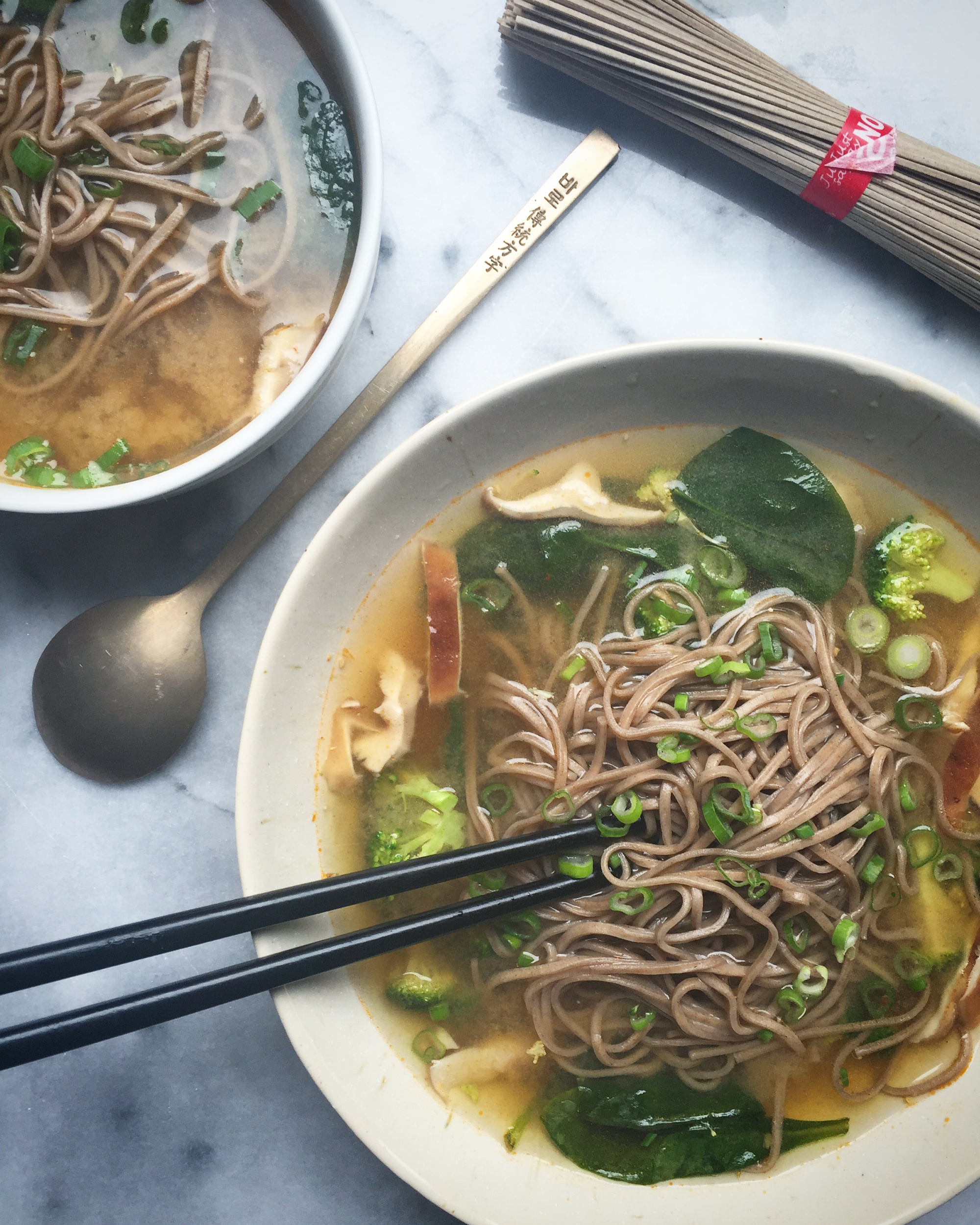 Vegetable Miso Soup with Soba Noodles -