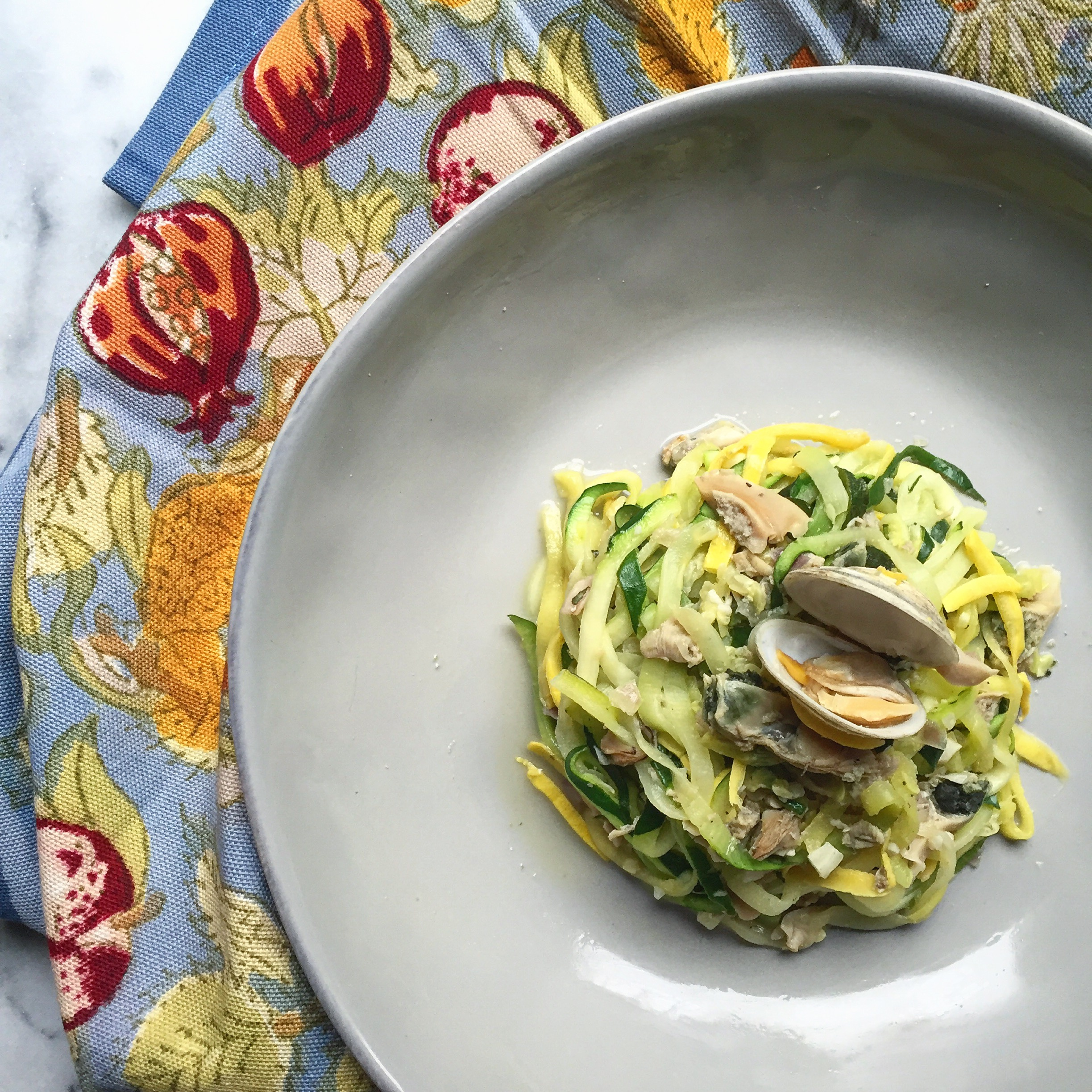 Zucchini Linguine with Clam Sauce -