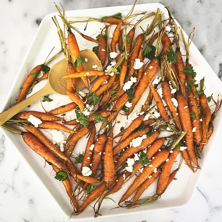 Roasted Heirloom Carrots with Feta -