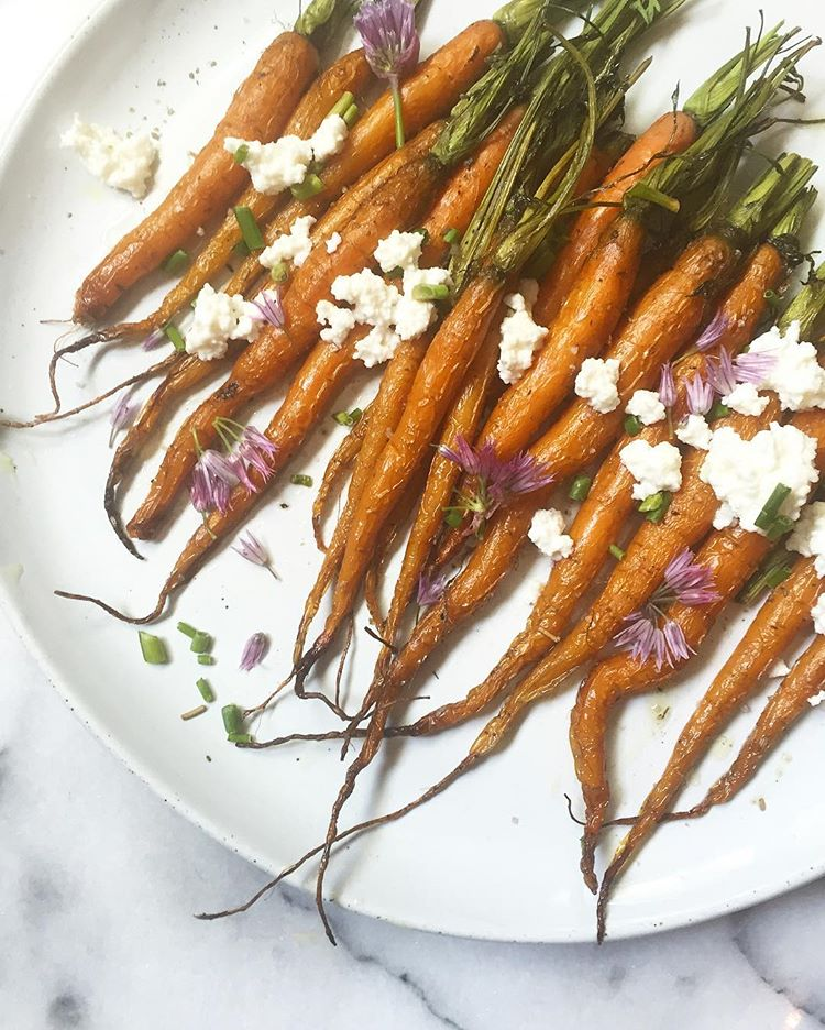 Roasted Carrots with Truffle Oil and Feta Cheese -