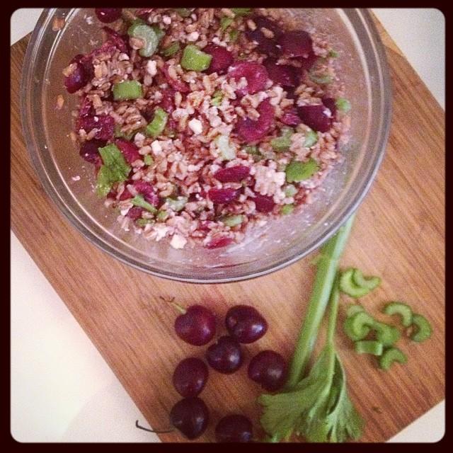 Farro, Cherry, and Celery Salad -