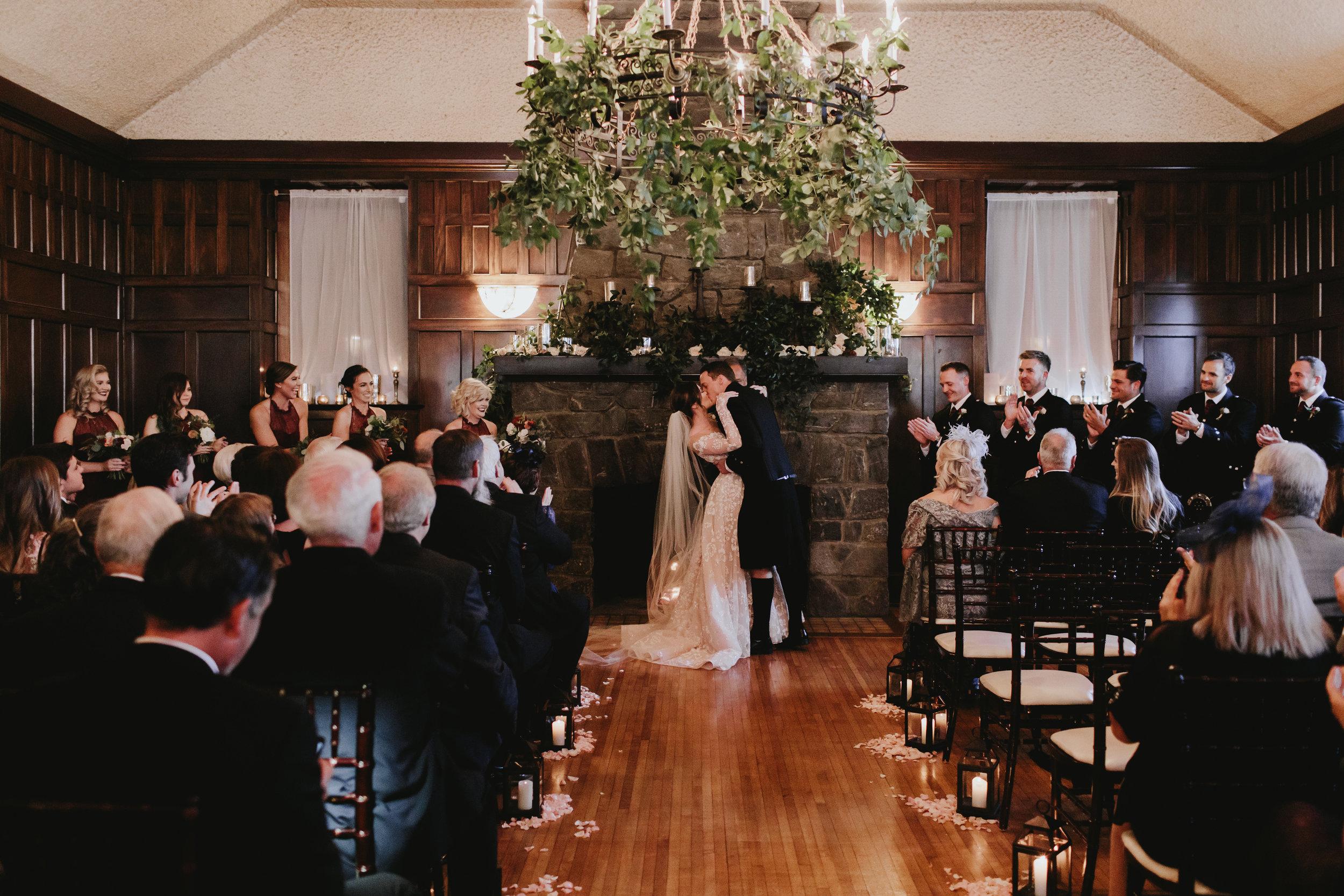 indoor wedding kiss the bride -Bryson Wedding - Alicia White Photography-221.jpg