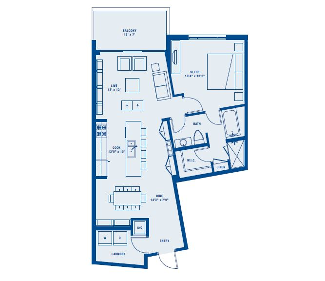 PLAN A    1 BED/1 BATH    SUITE 934 SQ FT    BALCONY 93 SQ FT    APPX TOTAL 1027 SQ FT