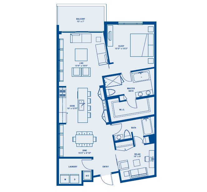 PLAN C    2 BED / 2 BATH    SUITE 1237 SQ FT    BALCONY 93 SQ FT    APPX TOTAL 1330 SQ FT
