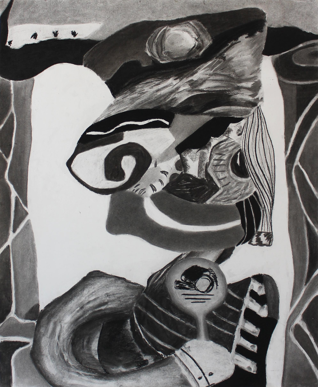 """LOLLIPOP KING"", charcoal on paper, 35 in. x 24 in., 2017"