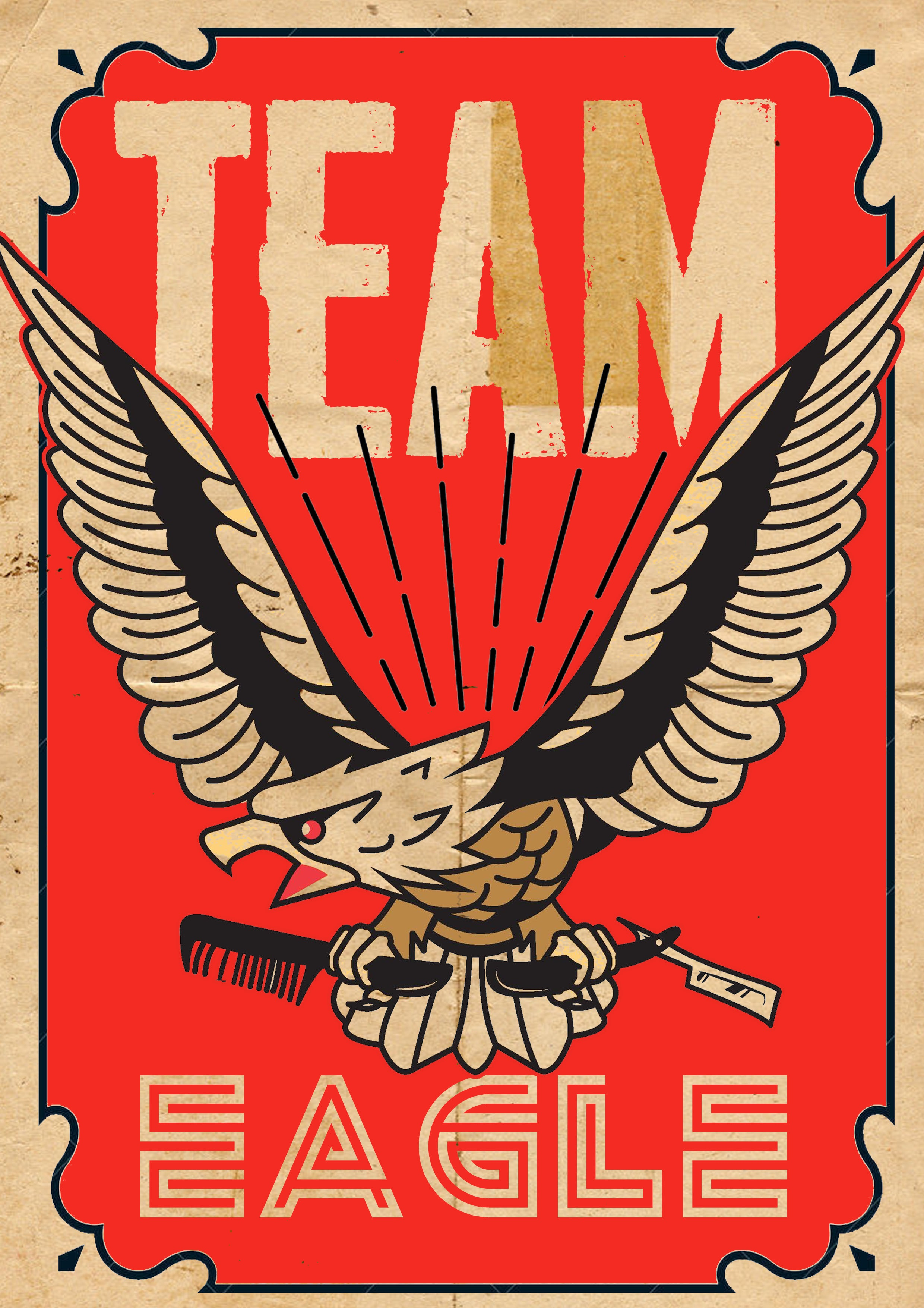 """TEAM EAGLE - In 2015, 4 people who never expected or even considered leadership """"their thing"""" became business owners and """"bosses"""" to a growing number of amazing and talented people. Recognizing the responsibility being placed on their shoulders, that team of owners went out and bought their first leadership notebooks to begin mapping processes and procedures to protect the staff of Chop. Yes they were cheesy notebooks with airbrushed eagles on them (we were on a budget). And that was the birth of the Team Eagle core value. Three years later, team eagle has trickled down to every member of Chop. It's what keeps us looking out for each other, for the shop, and for our customers. It's what keeps us moving even in the weeds with smiles on our faces knowing we are in this together. It's what sets us apart!"""