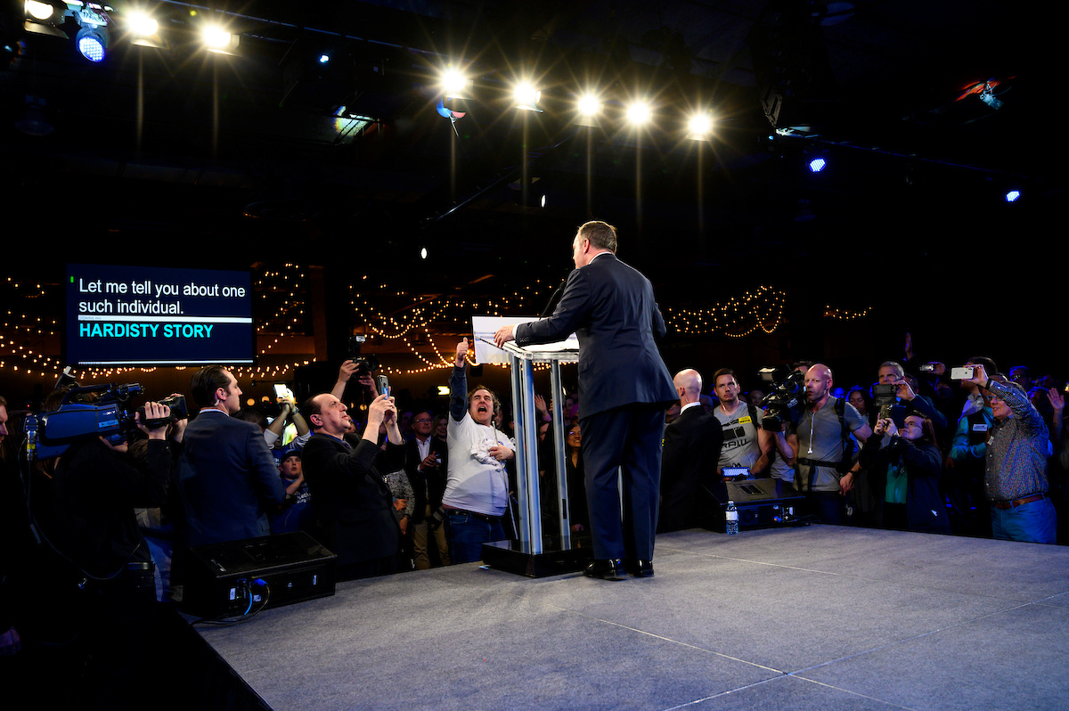 Tuesday April 16, 2019 - Calgary, Alberta -UCP leader Jason Kenney takes to the stage after his election win. The new Alberta Premier-designate takes over from Rachel Notley and the NDP government. Photo by Jimmy Jeong / Maclean�s