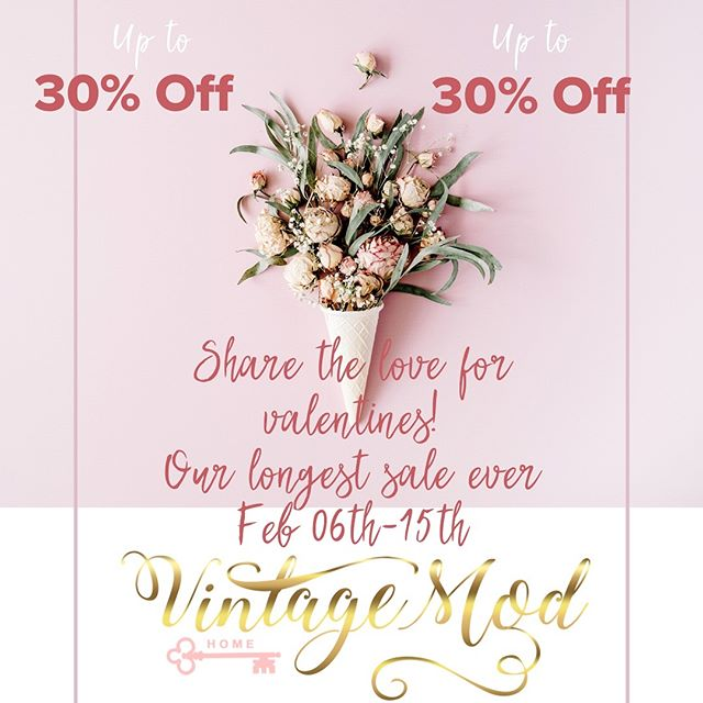 Our longest Sale Ever!!!!! Share the love for the Valentine season with up to 30% off!!! Feb 06th- Feb 15th 2019.  3845 N Druid Hills Rd. Suite 204, Decatur, GA 30033 #sale #welovevintage #vintagelovers #vintagemod #vintage #modern #modernhomedecor #vintagehomedecor #homefurnishings #furniture #uniquefinds  #homeaccessories #lamps #sofas #dressers #tables #vases #art #paintings #clocks #dishes #colors #style #decor #liveloveallthingshome. #smallbusiness #decatur #georgia #decaturGa #Northdruidhills