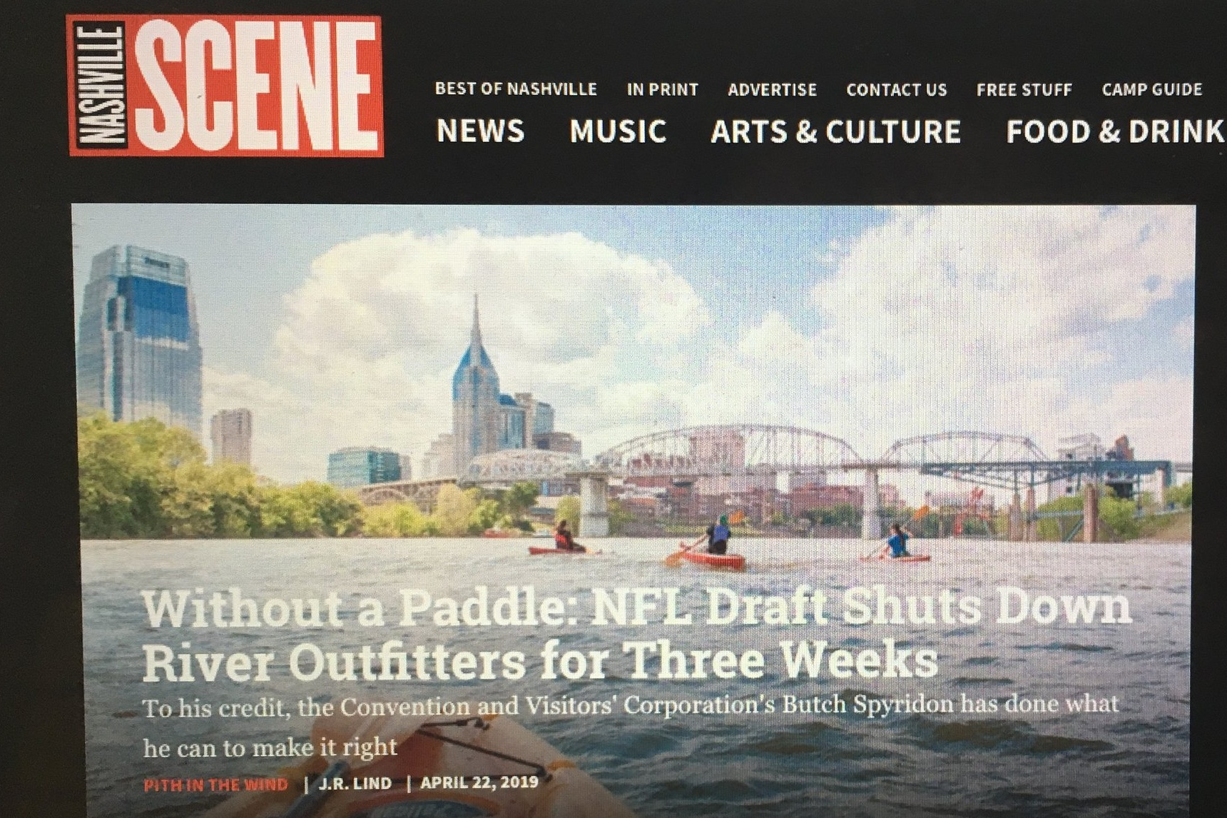 Kayak in Nashville on Cumberland River for Nashville Scene Front Page