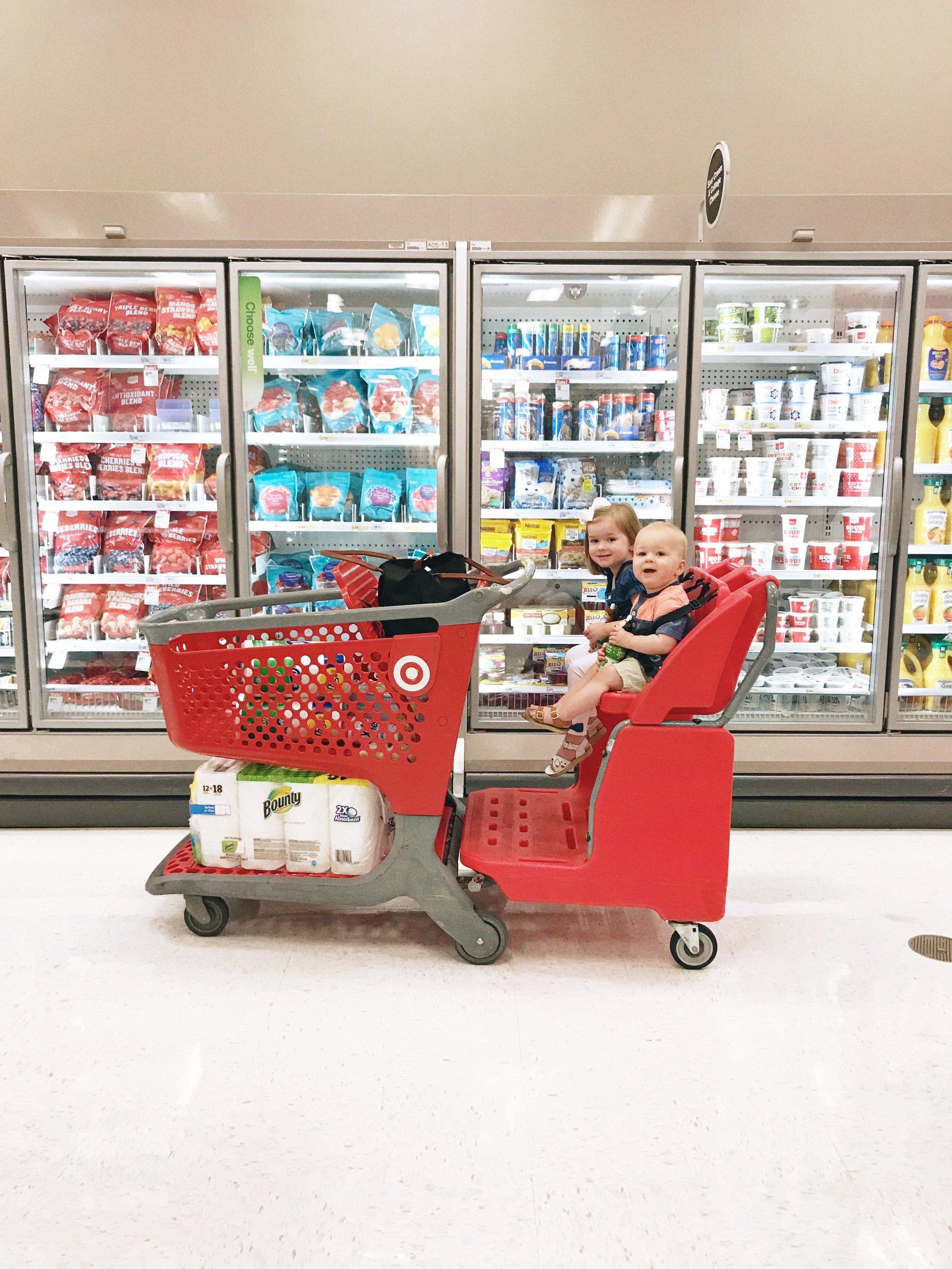 "Driving the ""Mac truck"" shopping cart at Target"