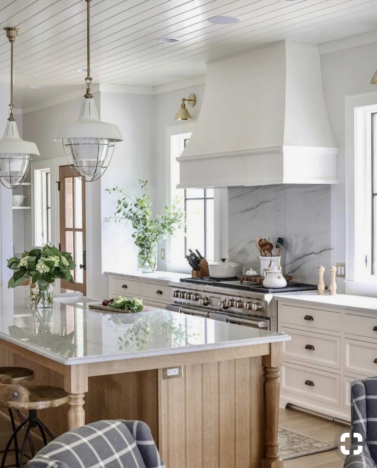 *Kitchen Inspiration: Love the wood stained island that adds warmth to the white kitchen