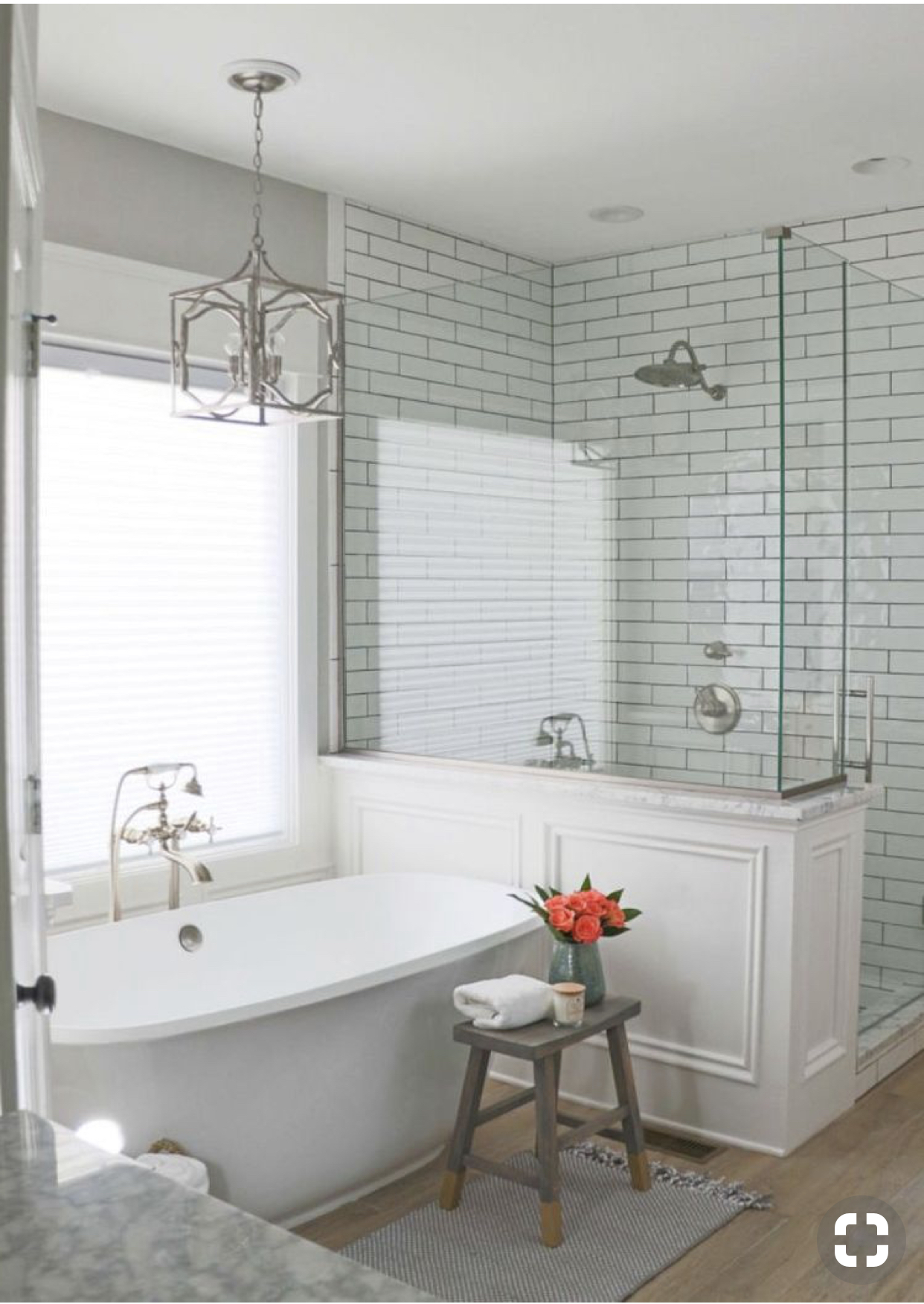 *Masterbath Inspiration: we will add a tub and I love the molding around the shower base here.